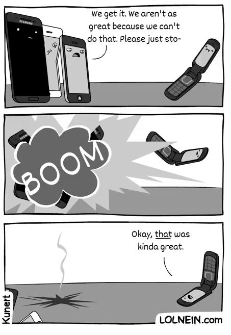 Smartphone thì phát nổ, còn điện thoại nắp gập vẫn bình an vô sự