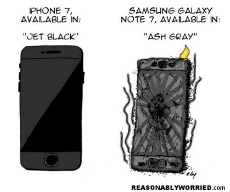 iPhone 7 có màu mới là Jet Black. Còn Note7 có màu mới là Ash Gray (tạm dịch là tro xám)