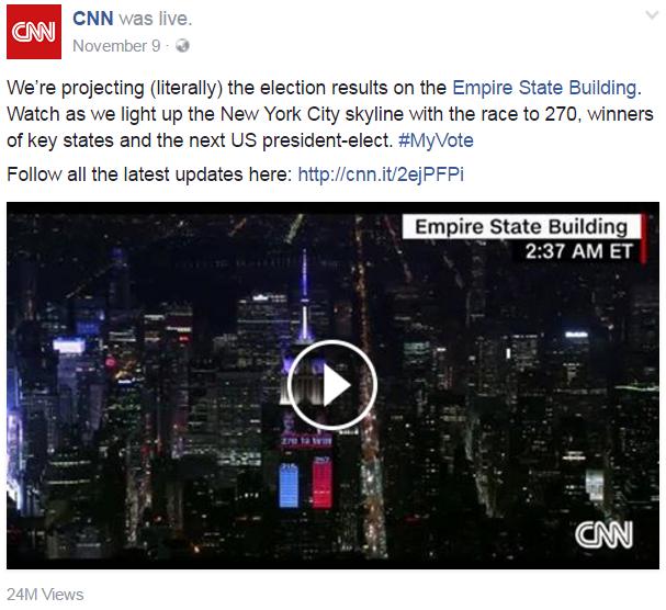 Video ghi nhận tại tòa nhà Empire State Building sau khi ông Trump đắc cử tổng thống Mỹ thu hút 24 triệu lượt xem.