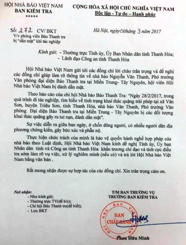 Công văn của Hội nhà báo Việt Nam đề nghị tỉnh Thanh Hóa làm rõ vụ nhà báo bị đánh