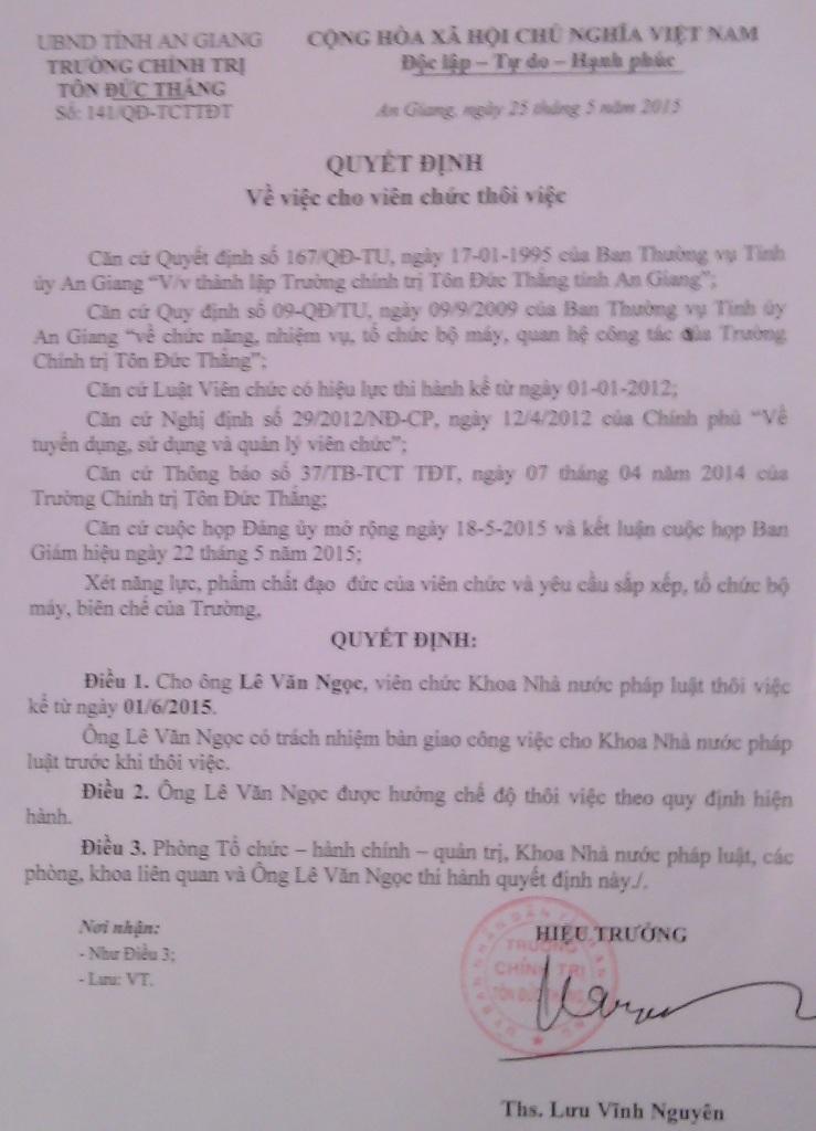 Khi nhận quyết định nghỉ việc này, ông Lê Văn Ngọc vô cùng bất ngờ.