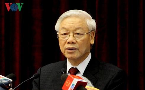 Tổng Bí thư Nguyễn Phú Trọng phát biểu tại buổi lễ (ảnh: VOV).