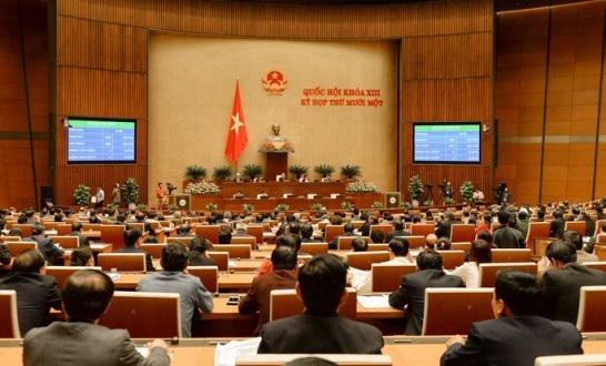 Phiên biểu quyết thông qua một dự án luật tại Quốc hội.