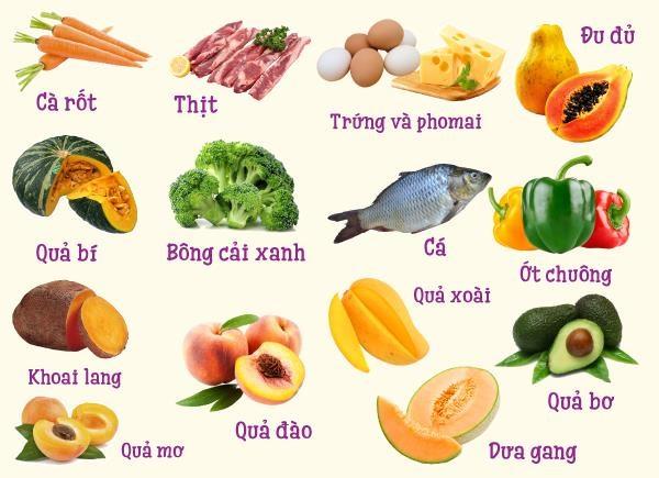 Những nguồn thực phẩm giàu vitamin A cho trẻ yêu