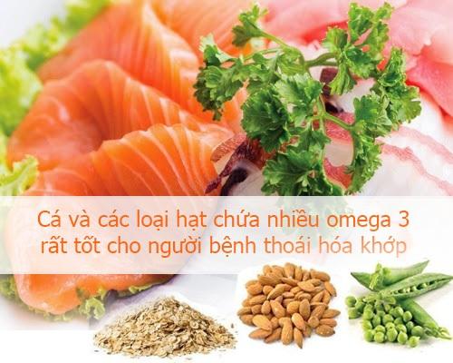 Thoái hóa khớp là tình trạng các khớp bị lão hóa do vậy ta cần bổ sung canxi cho xương bằng các thực phẩm giàu canxi đó là các loại thịt: thịt heo, thịt bò, thịt gia cầm, cá biển, tôm, sò. Thêm vào đó, cần tăng cường các loại trái cây như: đu đủ, dứa, chanh, bưởi vì các loại trái này là nguồn cung ứng men kháng viêm và sinh tố C, 2 hoạt chất có tác dụng kháng viêm.