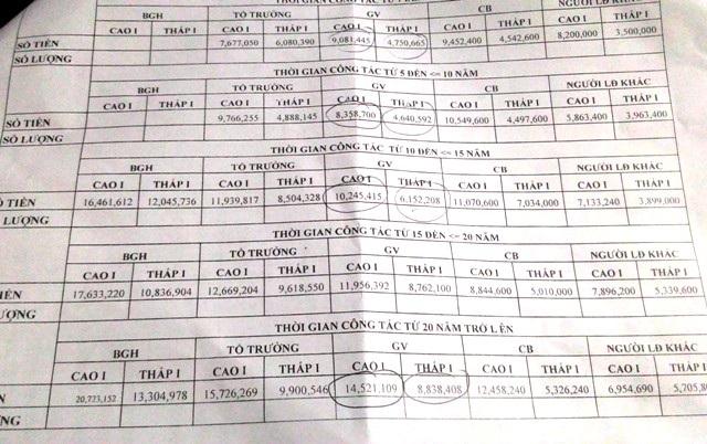 Bảng thống kê thu nhập giáo viên, nhân viên trường học bậc tiểu học ở quận Phú Nhuận, TPHCM