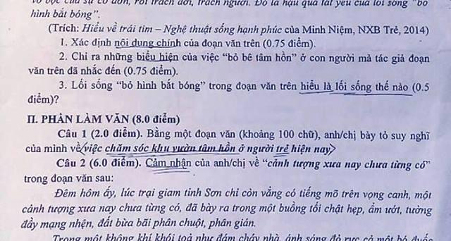 Chăm sóc khu vườn tâm hồn ở người trẻ - là nội dung trong phần nghị luận đề thi Văn 11 ở Bình Phước