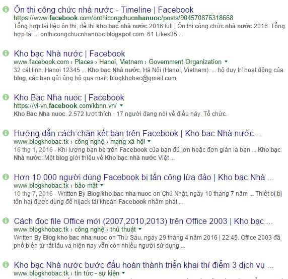 Một số trang facebook, blog mạo danh Kho bạc Nhà nước (ảnh chụp màn hình)