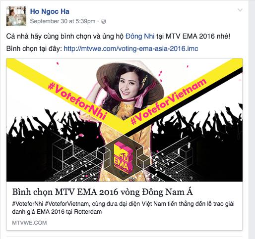 Hồ Ngọc Hà và nhiều nghệ sĩ khác cũng đồng loạt kêu gọi bình chọn cho Đông Nhi. Ảnh: MTV.