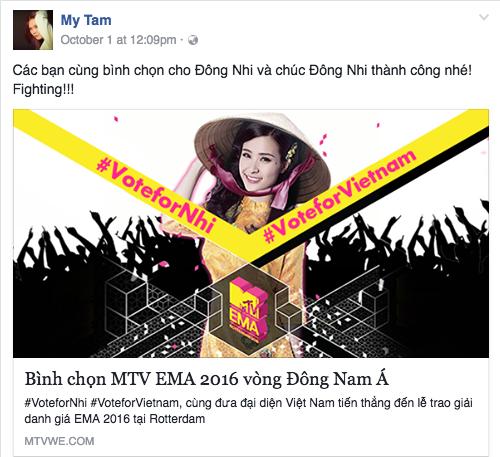 Mỹ Tâm kêu gọi bình chọn cho Đông Nhi trên trang cá nhân. Ảnh: MTV.