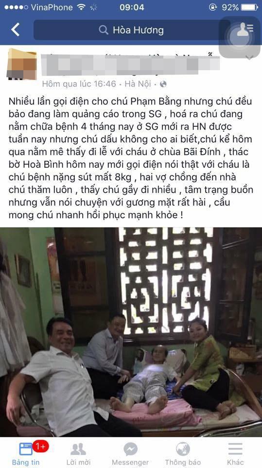 Thông tin và hình ảnh nghệ sĩ Phạm Bằng bị bệnh gan được lan truyền trên mạng xã hội đã khiến nhiều khán giả xót xa. Ảnh: HH