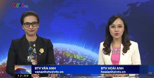 BTV Vân Anh và Hoài Anh trong một lần dẫn chung. Ảnh: TL.