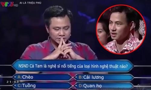 Câu hỏi số 6 mà Tự Long phải đối diện khi thi Ai là triệu phú năm 2014. Ảnh: Cắt từ màn hình.
