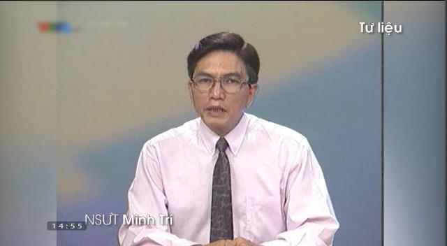 Hình ảnh thân thuộc của NSƯT Minh Trí trong bản tin Thời sự 19h của VTV. Ảnh: Tư liệu VTV.