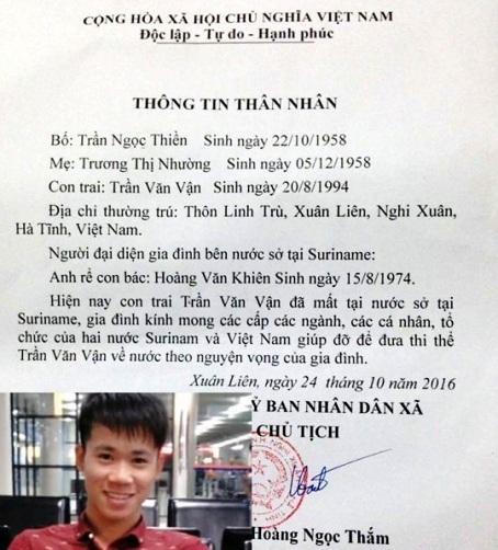 Thông tin của chính quyền xã Xuân Liên về cái chết của công dân Trần Văn Vận.