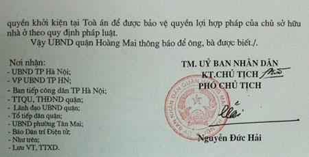 Công văn của UBND quận Hoàng Mai phúc đáp báo
