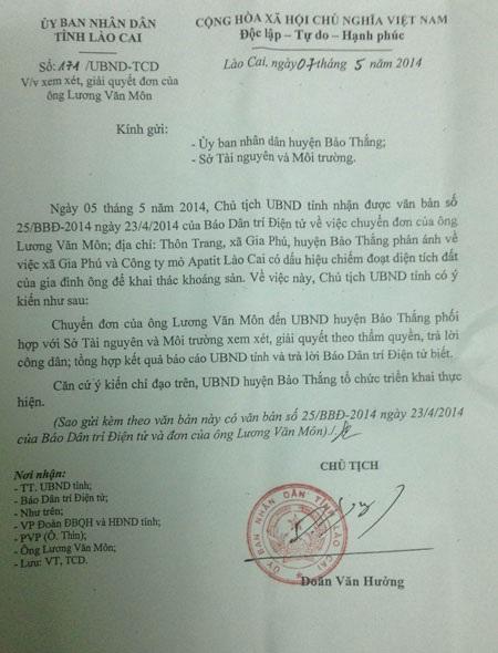 Công văn của UBND tỉnh Lào Cai phúc đáp báo Dân trí