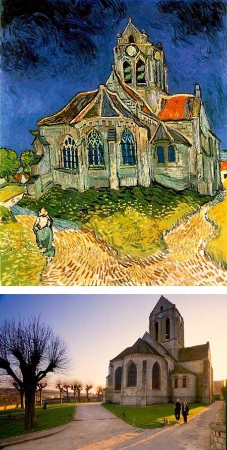 """Bức """"Nhà thờ ở Auvers"""" (một thị trấn của Pháp) do Vincent van Gogh thực hiện."""