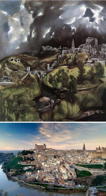 """Bức """"Quang cảnh thành phố Toledo"""" của danh họa người Tây Ban Nha El Greco."""
