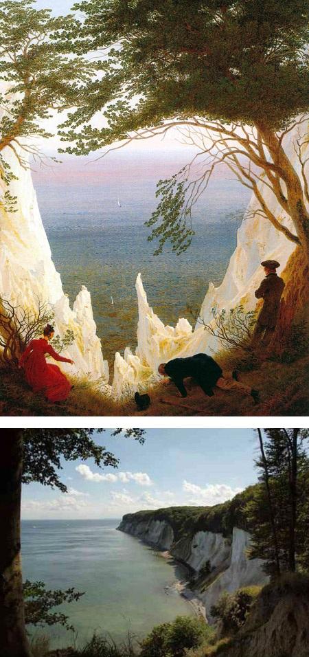 """""""Vách đá Chalk ở đảo Rugen"""" (Đức) của họa sĩ người Đức Caspar David Friedrich."""