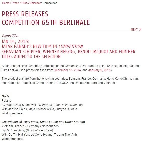 Thông tin trên trang chủ của LHP Berlin
