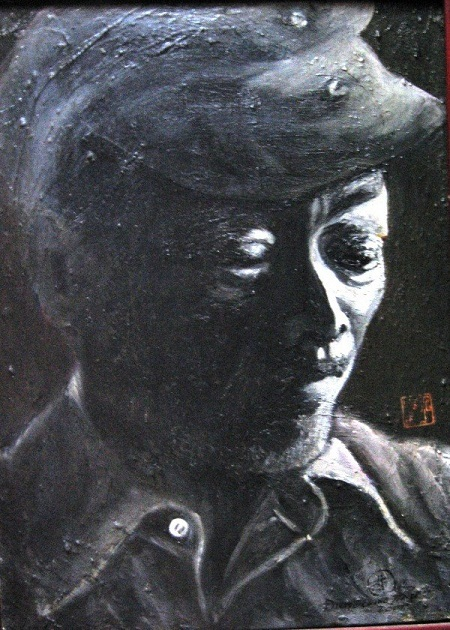 Chân dung họa sỹ Nguyễn Sáng - tranh sơn dầu của Đinh Quang Tỉnh.