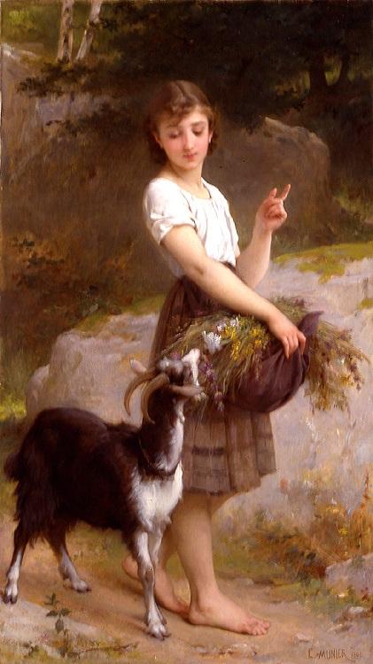 """Bức """"Cô bé bên hoa và chú dê con"""" - họa sĩ người Pháp Emile Munier (1840 - 1895)."""
