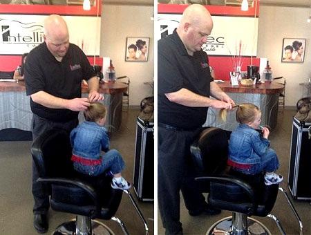 Anh Greg Wickherst từng rất lo lắng về việc buộc tóc cho cô con gái 3 tuổi Izzy.