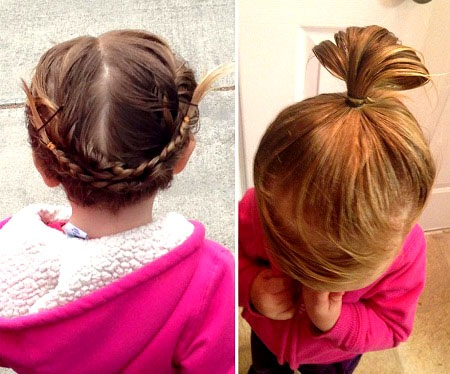 Izzy rất thích thú khi được cha buộc tóc đẹp trước khi đi học.