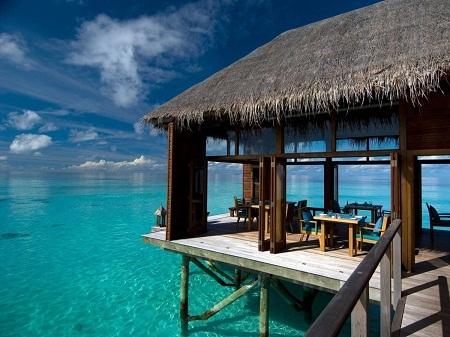 Ở trong một căn lều xinh đẹp nằm giữa vùng nước biển xanh trong của quần đảo Maldive.