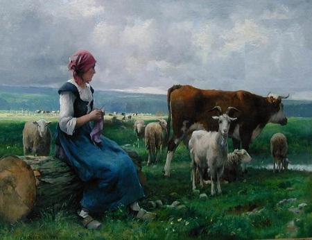 """Bức """"Cô gái mục đồng và đàn gia súc"""" - họa sĩ người Pháp Julien Dupre (1851-1910)."""