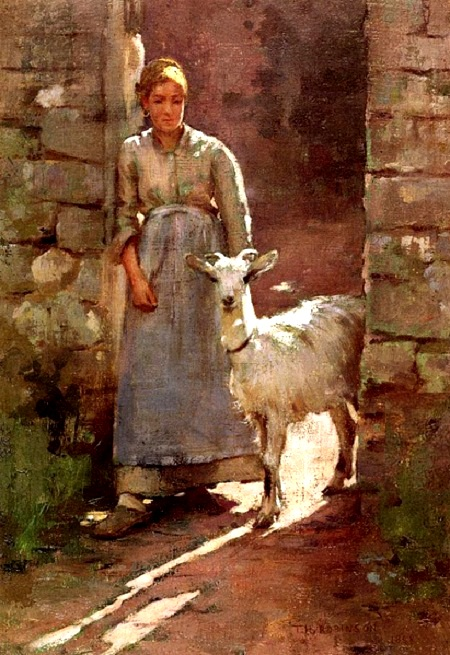 """Bức """"Cô gái và chú dê"""" - họa sĩ người Mỹ Theodore Robinson (1852-1896)."""