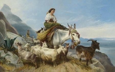 """Bức """"Những người mục đồng nhìn qua eo biển"""" - họa sĩ người Anh Richard Ansdell (1815-1885)."""