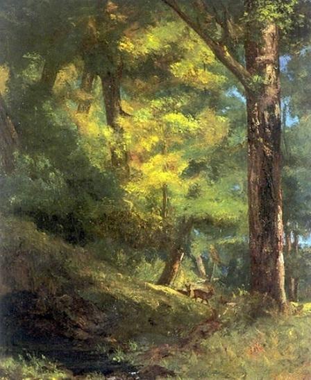 """Bức """"Hai chú dê trong rừng"""" - họa sĩ Pháp Gustave Courbet (1819-1877)."""