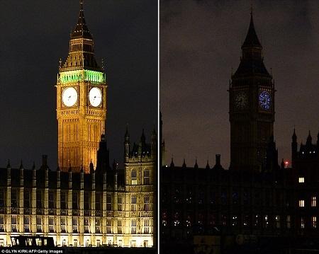 Tháp Big Ben ở London, Anh tắt đèn trong một tiếng đồng hồ để hưởng ứng Giờ Trái đất.