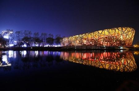 Sân vận động Quốc gia (hay còn gọi là sân vận động Tổ chim) ở Bắc Kinh, Trung Quốc.