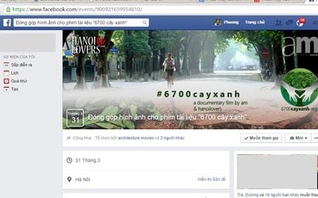 """Hình ảnh trang fanpage trên Facebook mang tên của bộ phim """"6.700 người vì 6.700 cây xanh"""" của nhóm"""
