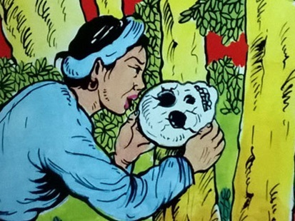 """Hình minh họa chi tiết """"sọ người"""" trong truyện """"Sọ Dừa"""" của NXB Hồng Đức"""