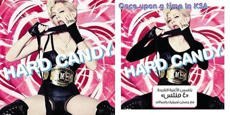 """Bìa album """"Hard Candy"""" của Madonna phát hành tại thị trường Mỹ (trái) và Ả Rập Saudi (phải)."""