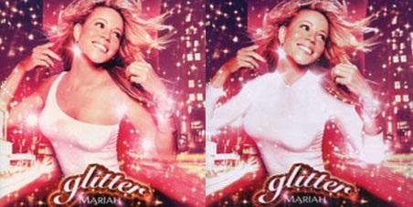 """Bìa album """"Glitter"""" của Mariah Carey trước và sau chỉnh sửa."""