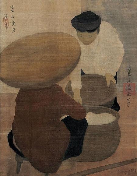 """Bức """"Hầu đồng"""" vẽ năm 1931 của họa sĩ Nguyễn Phan Chánh."""