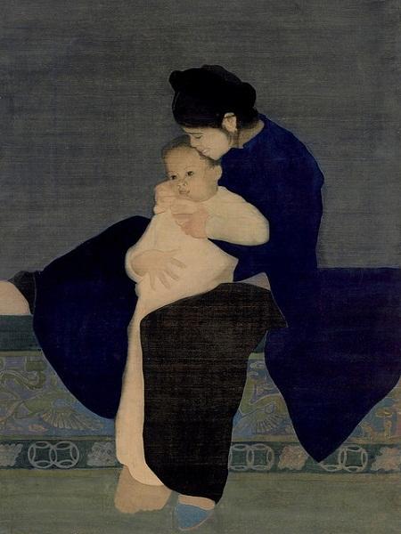"""Bức """"Thiếu nữ uống trà"""" của họa sĩ Vũ Cao Đàm (1908-2000)."""