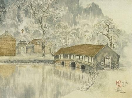"""Bức """"Đường lên Chùa Thầy"""" của họa sĩ Trần Duy (1922-2014)."""