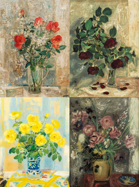 Loạt tranh về hoa của họa sĩ Lê Phổ.
