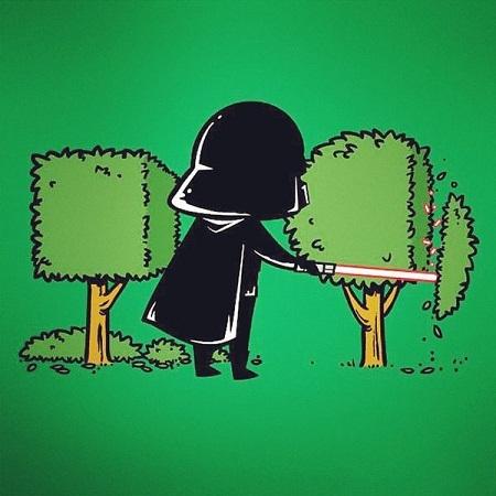 Darth Vader tận dụng năng lực của kiếm ánh sáng, trở thành thợ làm vườn.