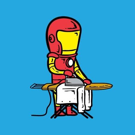 Người Sắt Iron Man làm nghề giặt ủi.