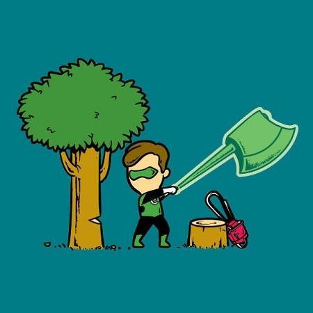 Green Lantern và chiếc rìu thần kỳ đảm nhận xuất sắc công việc đốn gỗ.