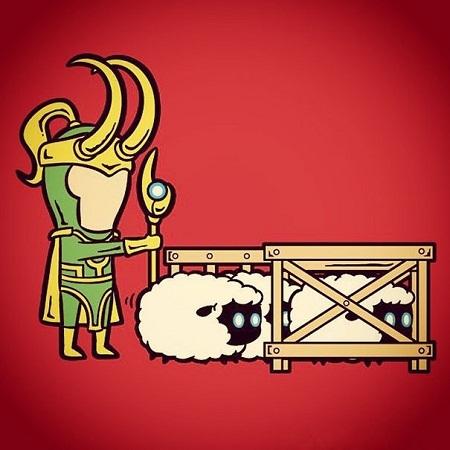Loki với khả năng thôi miên, điều khiển hành động của vạn vật, làm người chăn thả gia súc.