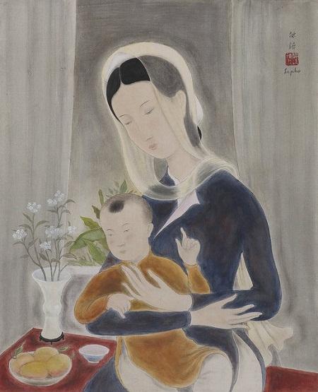 """Bức """"Mẹ và con"""" từng đạt mức giá 1.160.000 đô la Hồng Kông (hơn 3,2 tỉ đồng)."""
