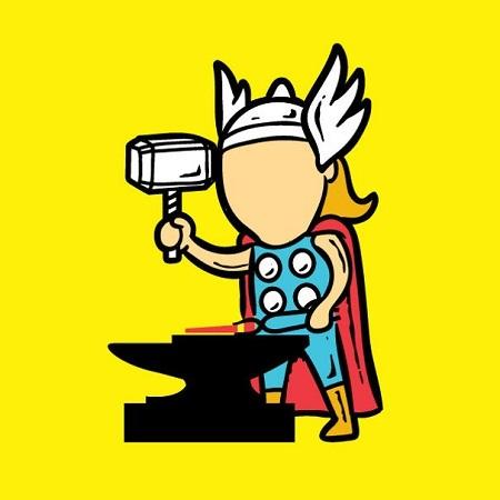 Thần sấm Thor với chiếc búa thần thánh làm thợ rèn.